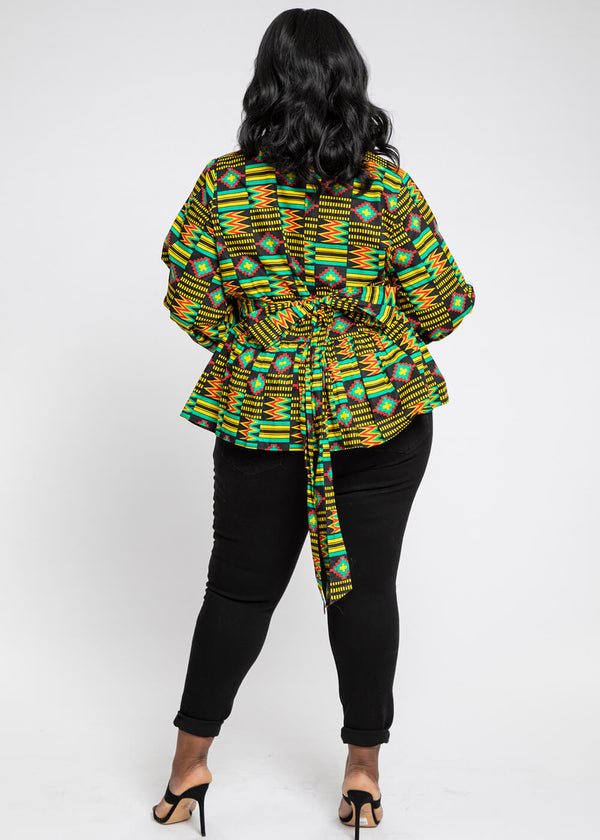 Aiye African Print High-Neck Puff Sleeve Peplum Blouse (Black Green Kente)