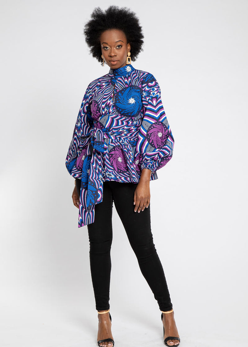 Aiye African Print High-Neck Puff Sleeve Peplum Blouse (Purple Blue Flowers)