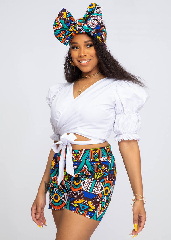 Almasi African Print High-Waisted Shorts (Blue Gold Tribal)
