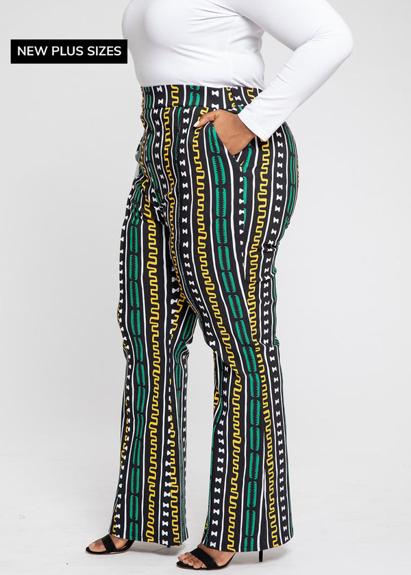 Bekele African Print Stretch Woven Wide Leg Pants (Green Gold Mudcloth)