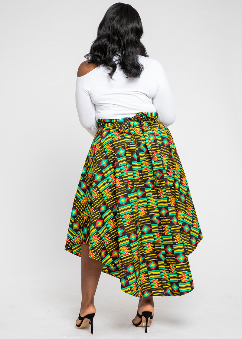 Didara African Print Gathered Triangle Maxi Skirt (Black Green Kente)