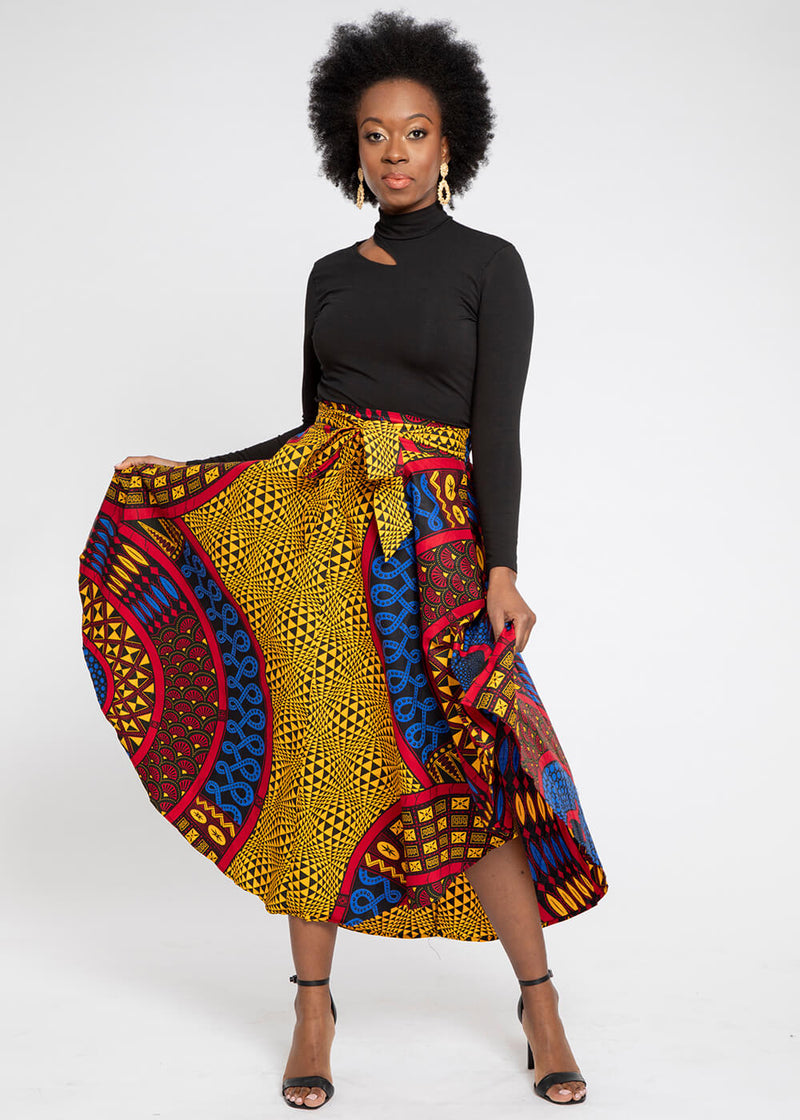 Didara African Print Gathered Triangle Maxi Skirt (Gold Blue Tribal)