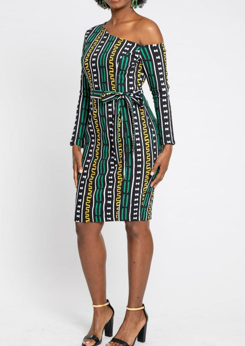 Furaha African Print Stretch Woven Off Shoulder Fitted Midi Dress (Green Gold Mudcloth)