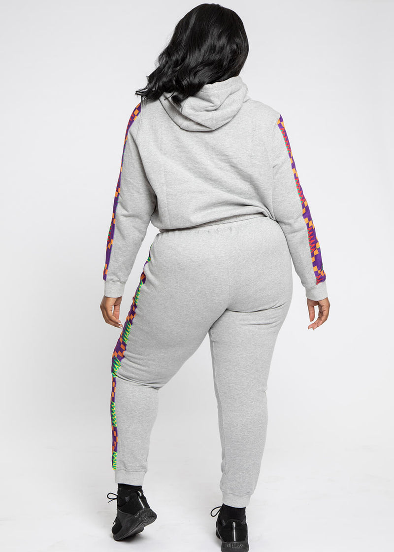 Ilera African Print Color Blocked Jogger (Heather Grey/Purple Green Kente)