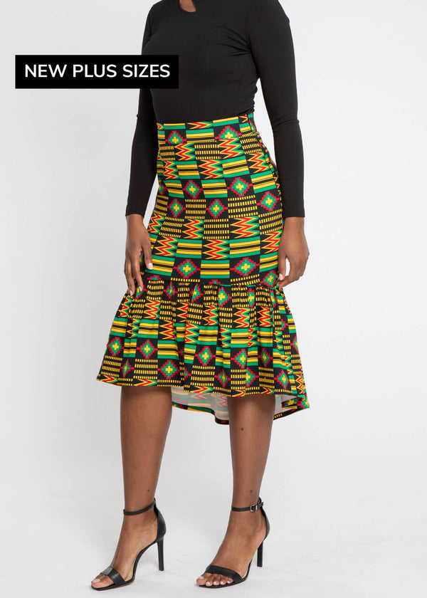 Mikali African Print Stretch Woven Tiered Pencil Skirt (Black Green Kente)