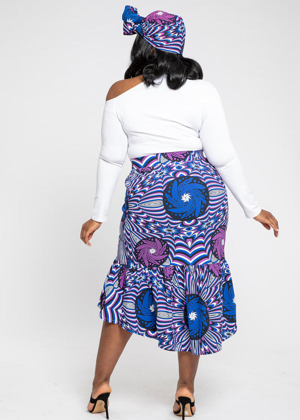 Mikali African Print Stretch Woven Tiered Pencil Skirt (Purple Blue Flowers)