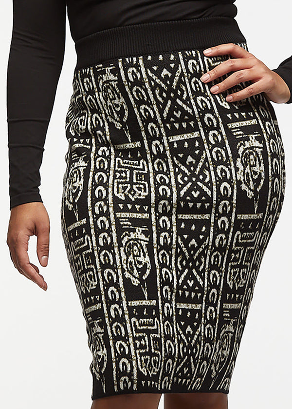 Yasiko African Print Knit Skirt (Black White Tribal) - Clearance