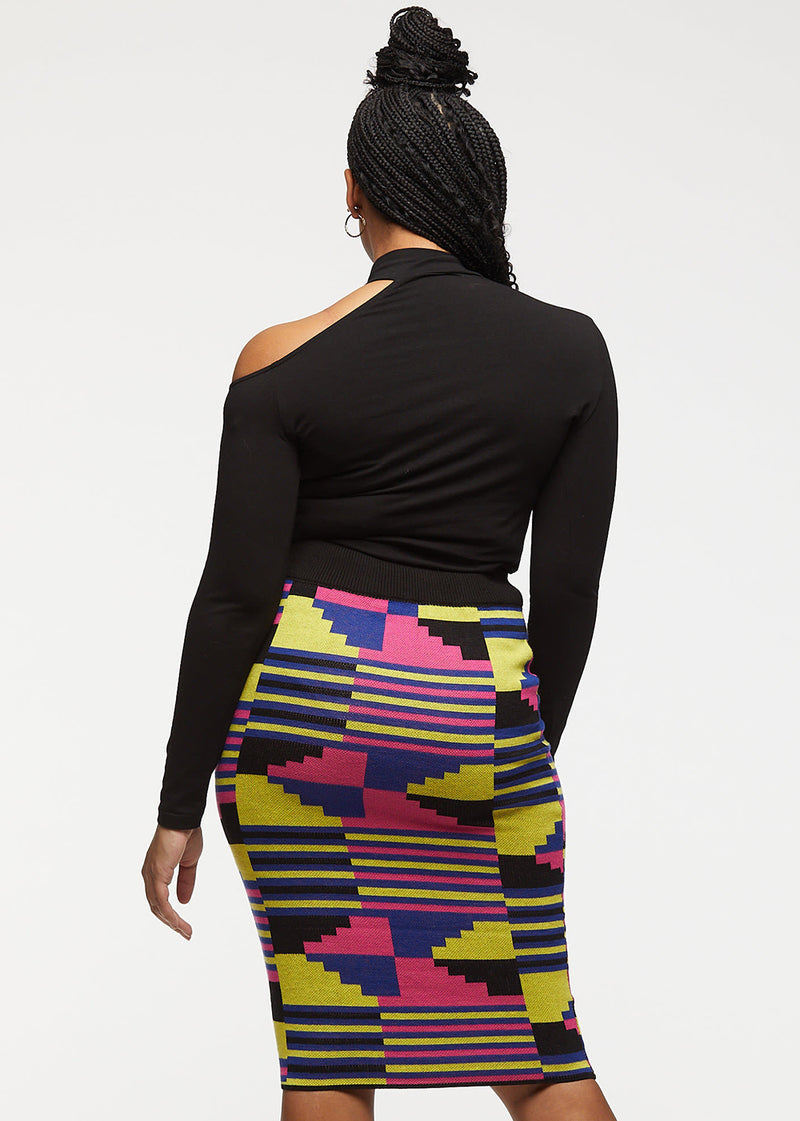 Yasiko African Print Knit Skirt (Pink Yellow Kente)