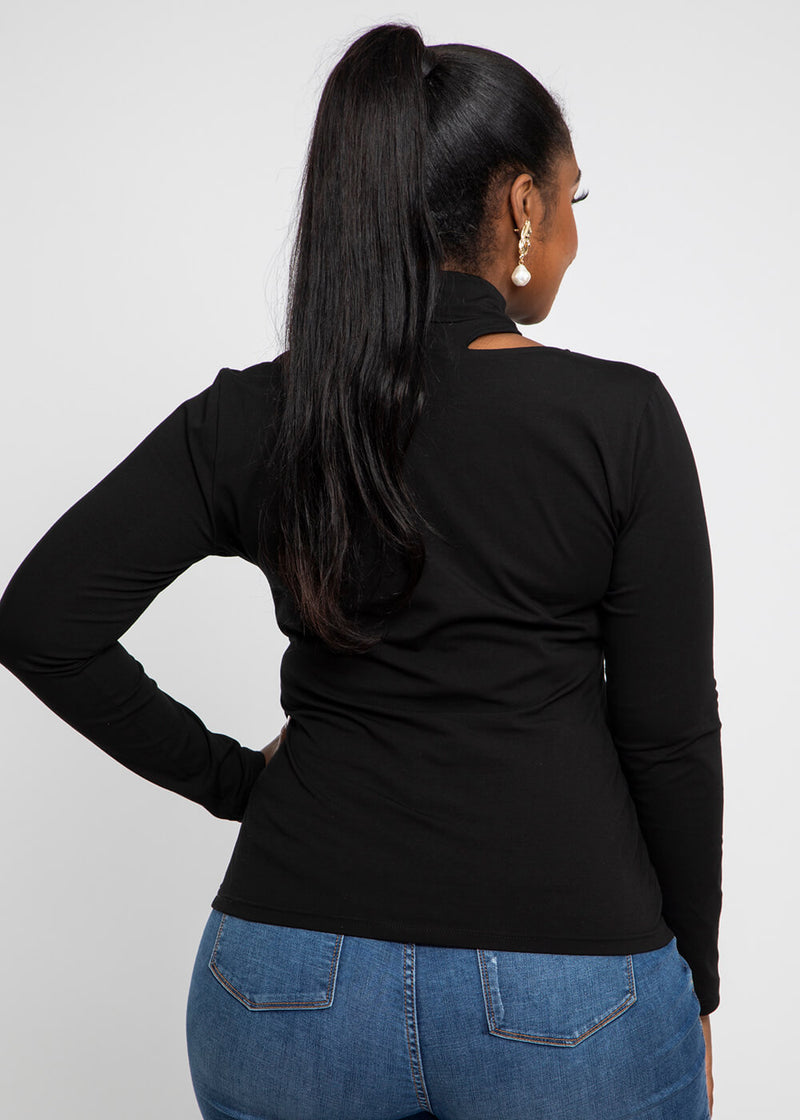 Yin Cut-Out Turtle Neck  Top (Black)