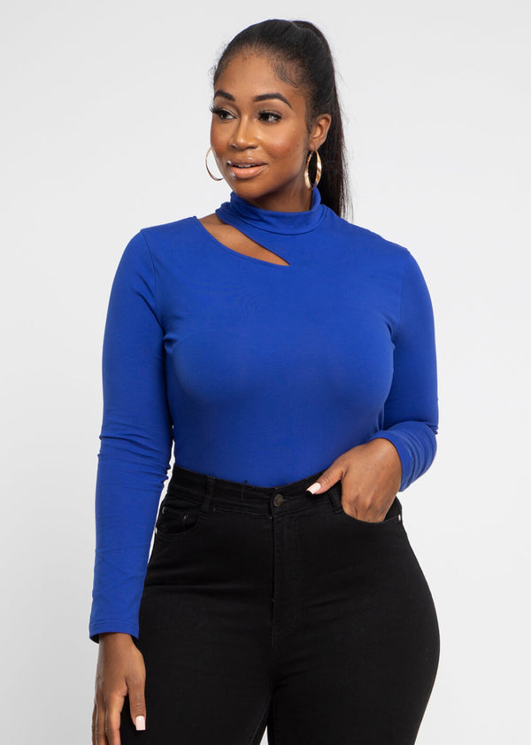 Yin Cut-Out Turtle Neck  Top (Blue)