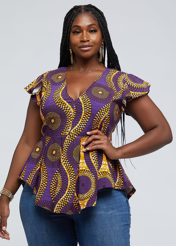 Zera African Print Stretch Peplum Top (Gold Purple Circles)