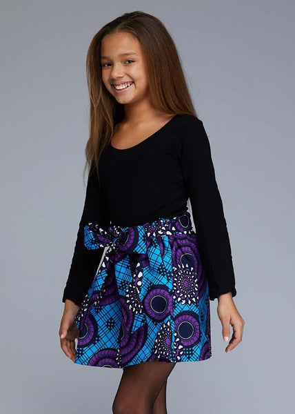 Abina African Print Full Skirt For Little Girls (Blue Purple Swirls)