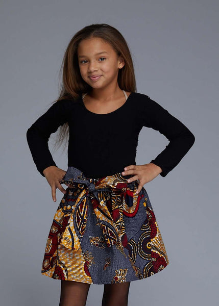 Abina African Print Full Skirt For Little Girls (Yellow Blue Multipattern)