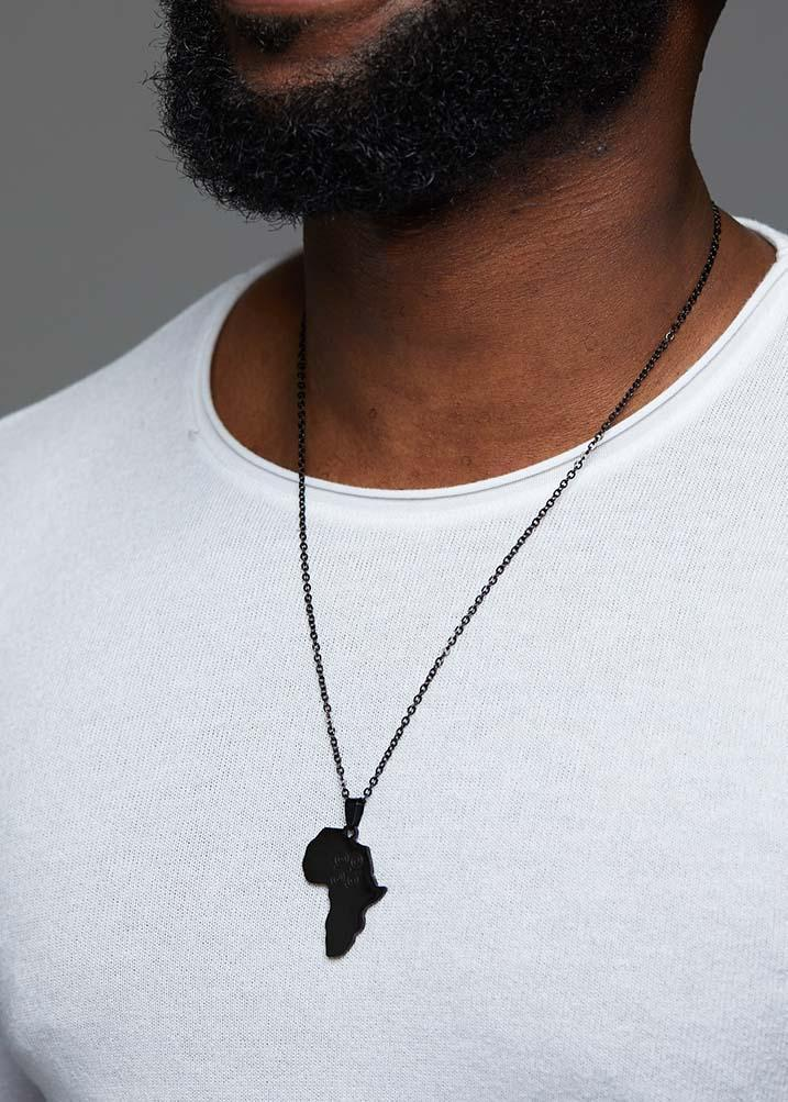 Adinkra Africa Map Black Necklace- Humility and Strength Symbol