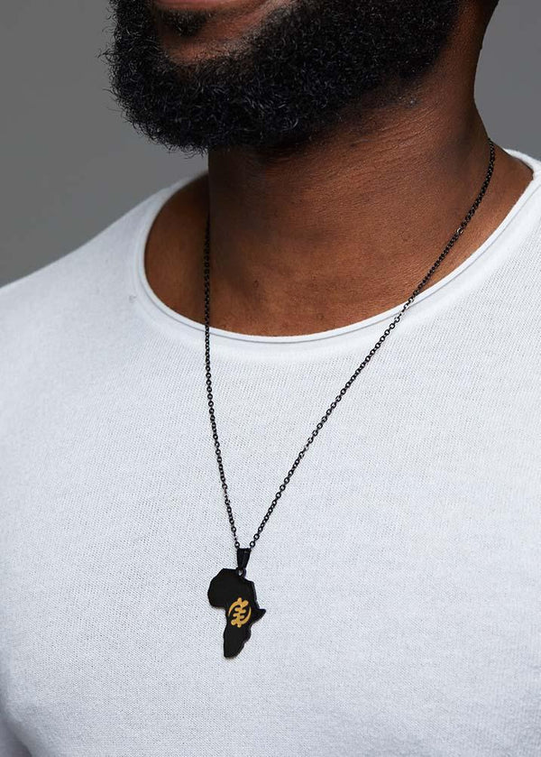 Accessories - Adinkra Africa Map Black Necklace- Supremacy Of God Symbol