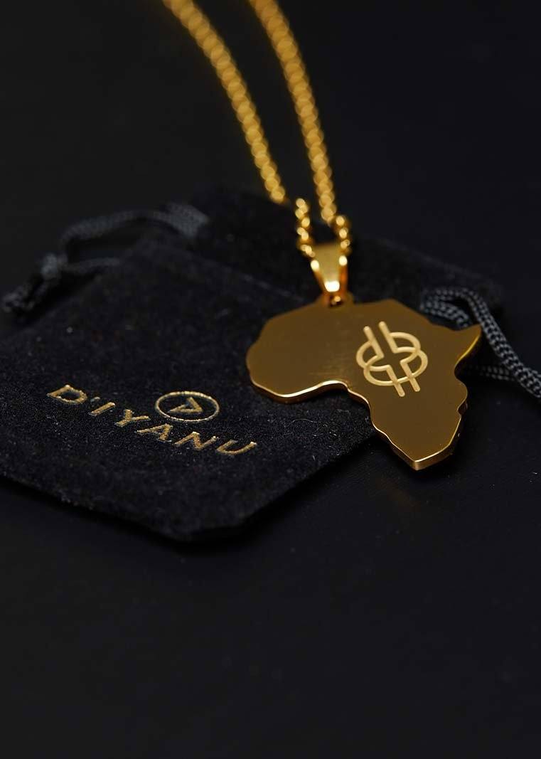 Adinkra Africa Map Gold Necklace- Wisdom Knot Symbol