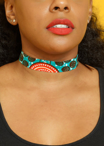 Accessories - African Print Choker Necklace (Aqua Circles)