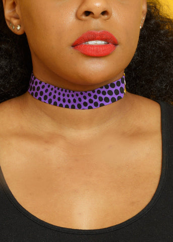 Accessories - African Print Choker Necklace (Purple)