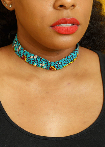 Accessories - African Print Choker Necklace (Teal/Yellow)