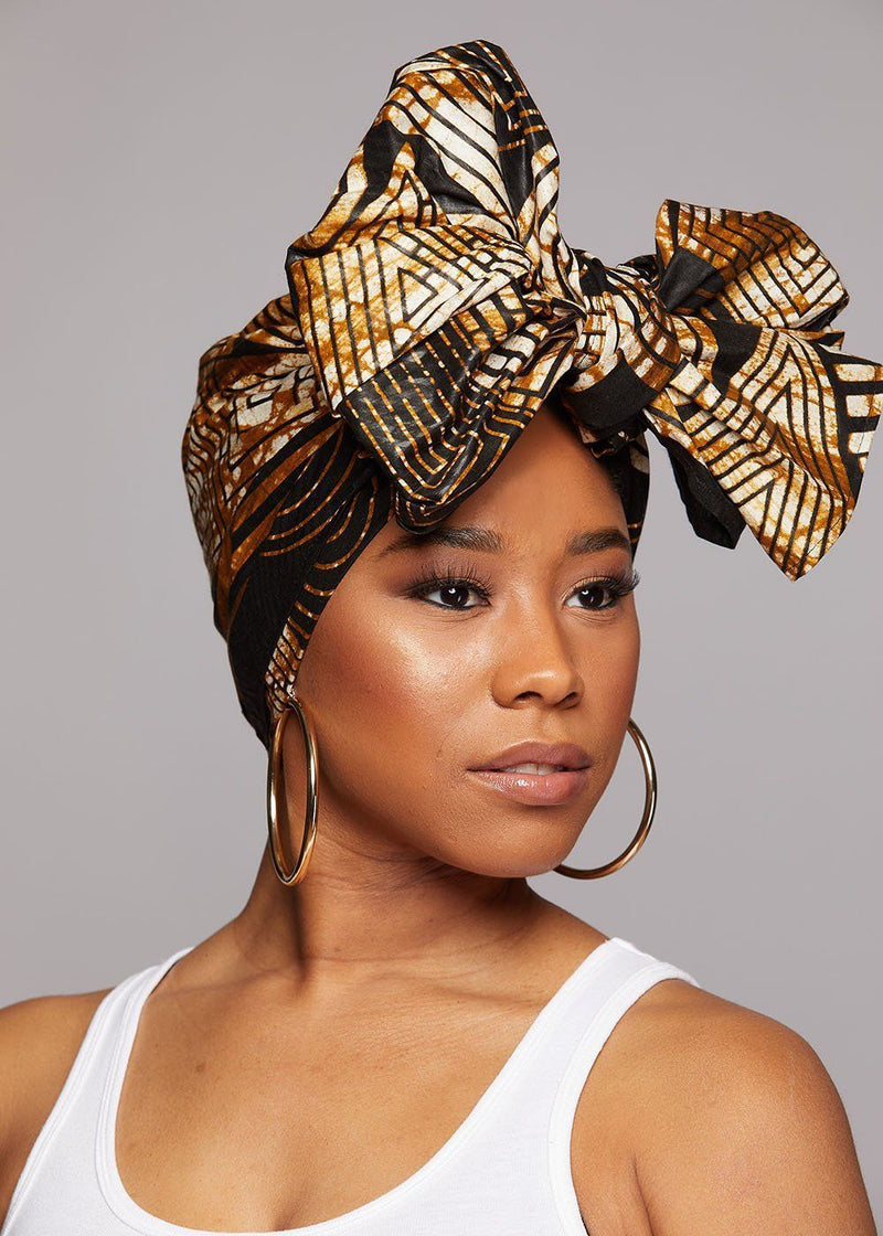 African Print Head Wrap/Scarf (Black Brown Geometric)
