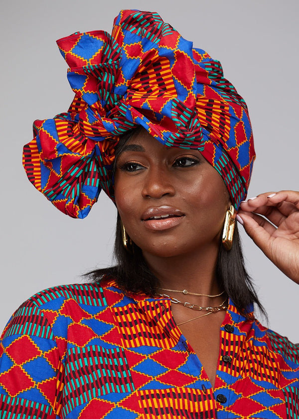 Accessories - African Print Head Wrap/Scarf (Blue  Red Kente)