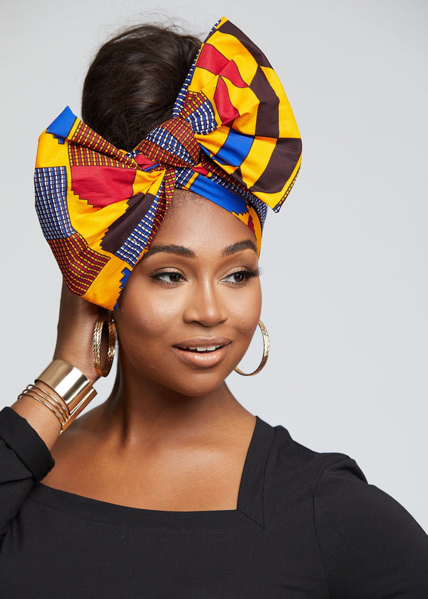 African Print Head Wrap/Scarf (Gold Red Kente)