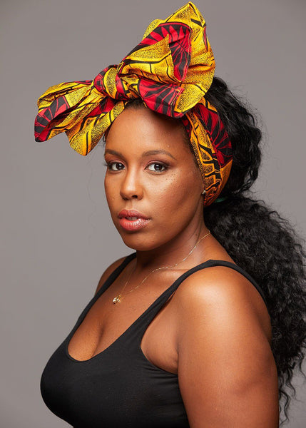 Accessories - African Print Head Wrap/Scarf (Gold/Red Leaves)