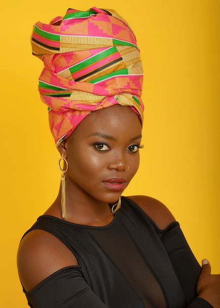 Accessories - African Print Head Wrap/Scarf (Pink/Beige)