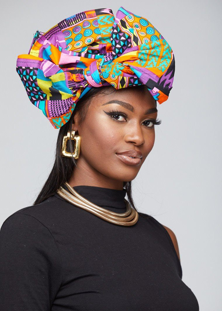 Accessories - African Print Head Wrap/Scarf ( Pink Purple Kente)