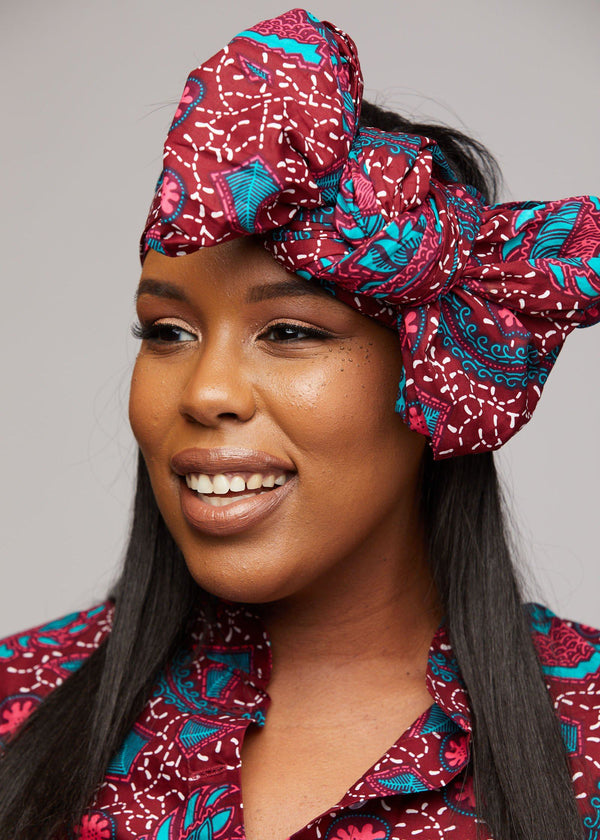Accessories - African Print Head Wrap/Scarf (Pink/Teal Ditsy)