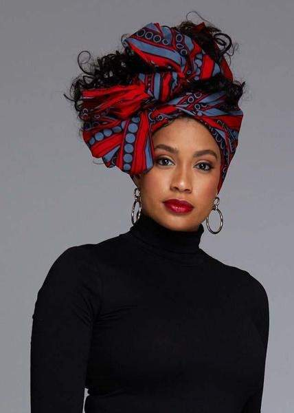 Accessories - African Print Head Wrap/Scarf (Red/Grey)