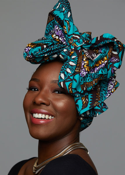 Accessories - African Print Head Wrap/Scarf (Teal Flowers)