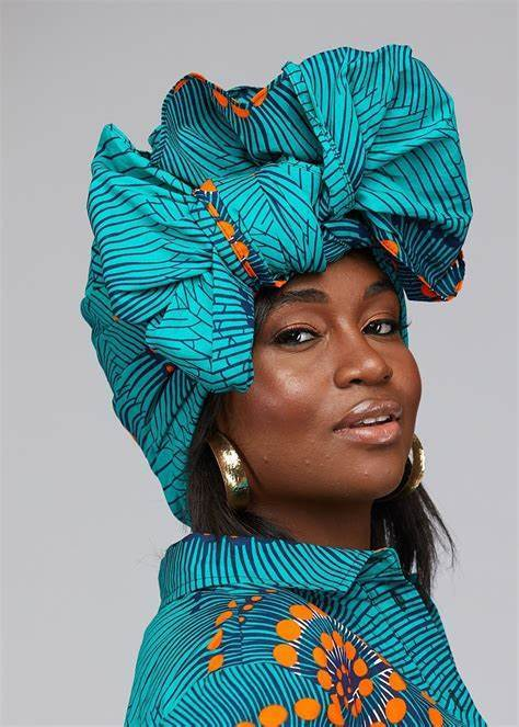 African Print Head Wrap/Scarf (Turquoise Orange Swirls)