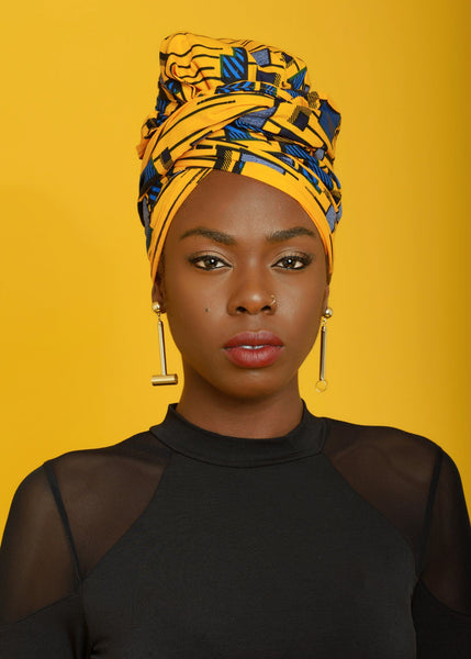 Accessories - African Print Head Wrap/Scarf (Yellow/Blue)
