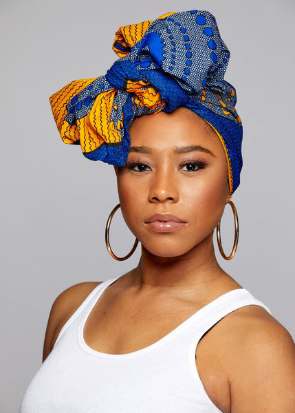 Accessories - African Print Head Wrap/Scarf (Yellow Blue Circles)