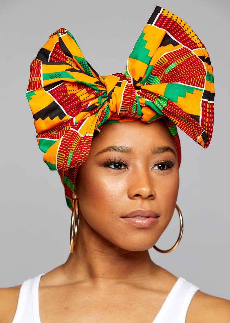Accessories - African Print Head Wrap/Scarf (Yellow Green Kente)