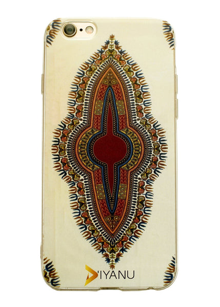 Accessories - African Print IPhone 6/6s Case (Cream/Maroon Dashiki)