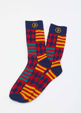 Accessories - Akachi African Kente Men's Socks (Blue Red Kente)