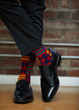 Akachi African Kente Men's Socks (Blue Red Kente)