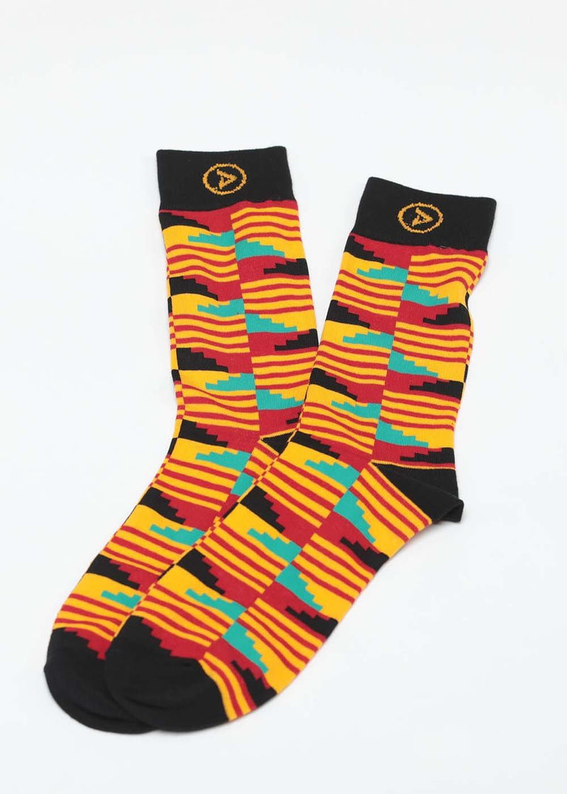 Accessories - Akachi African Kente Men's Socks (Yellow Red Kente)