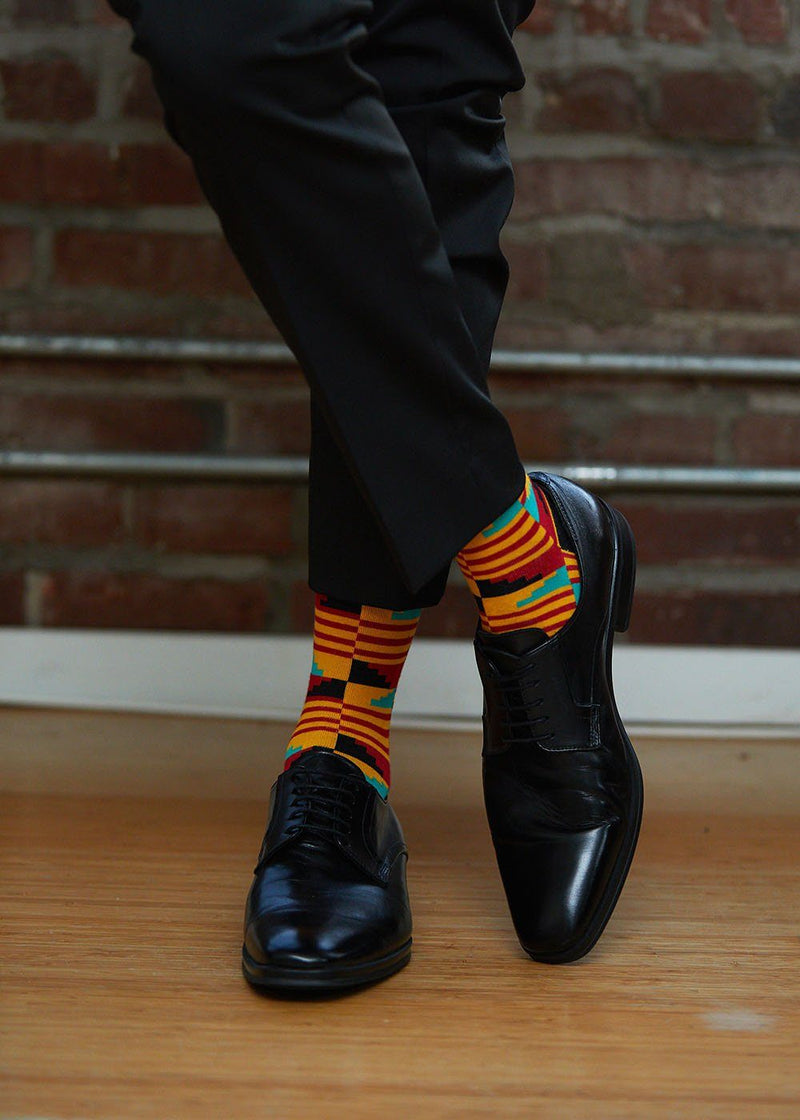 Akachi African Kente Men's Socks (Yellow Red Kente)