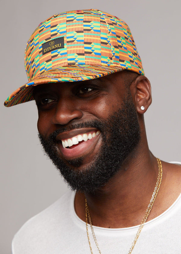Accessories - Beno African Print Fitted Hat (Gold Green Kente)