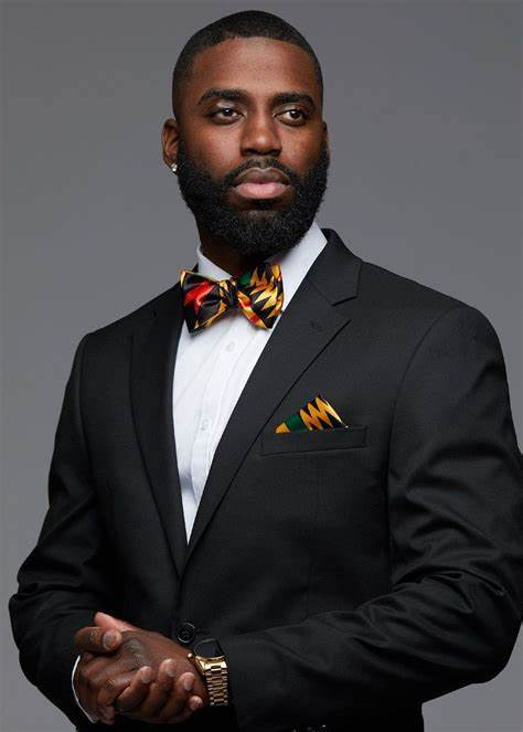 Halif Men's African Print Satin Bow Tie and Pocket Square Set (Black/Yellow Kente)