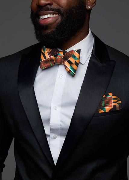 2495a44275056 Halif Men's African Print Satin Bow Tie and Pocket Square Set (Yellow –  D'IYANU