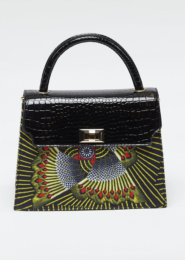 Accessories - Kesi African Print Bag With Embossed Vegan Leather (Yellow Red Fans)