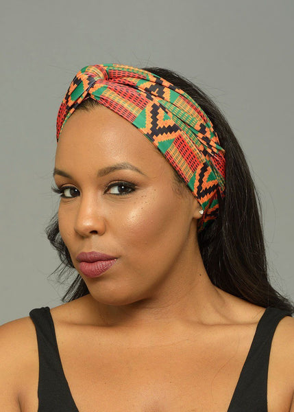 Accessories - Zoya African Print Stretch Infinity Headband (Red/Green Kente)