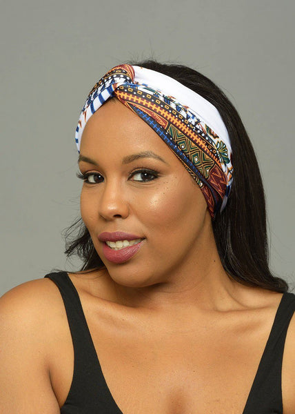 Accessories - Zoya African Print Stretch Infinity Headband (White Dashiki)