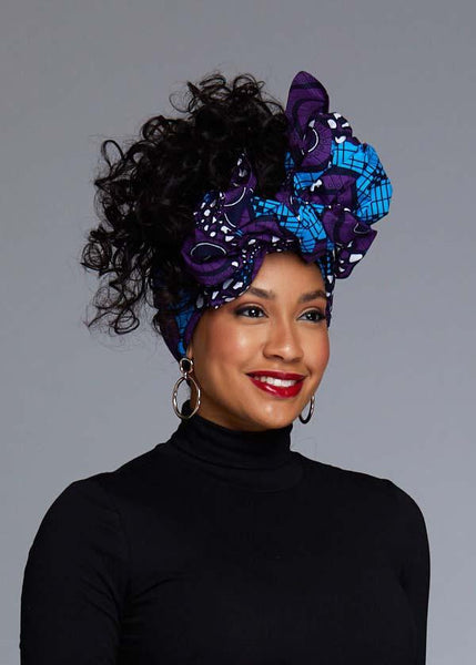 African Print Head Wrap/Scarf (Blue/Purple Swirls)