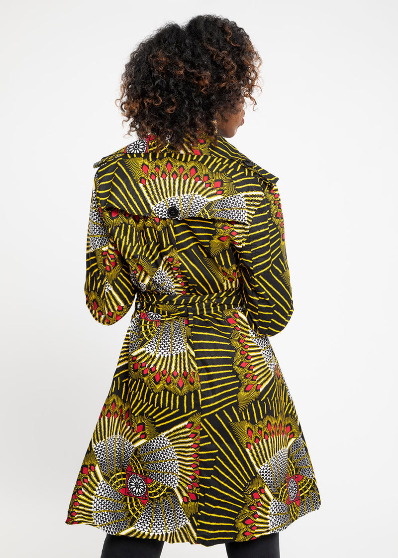 Akina African Print Trench Jacket (Yellow Red Fans)