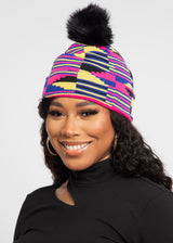 Amira African Print Knit Hat with Faux Fur Puff Ball (Pink Yellow Kente)
